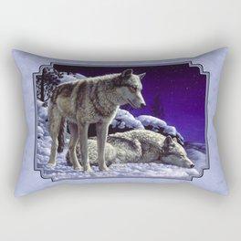 Night Watch Wolves in Snow Rectangular Pillow
