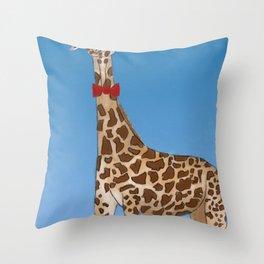 Giraffe Wearing Bowtie Throw Pillow