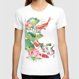 Koi Fish Pond With Large Lotus Flowers Leaves Watercolor Painting Chinese Style T-shirt