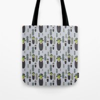 magritte Tote Bags featuring Kokeshi Magritte pattern by Pendientera