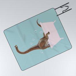 Brachiosaurus in Bathtub Picnic Blanket