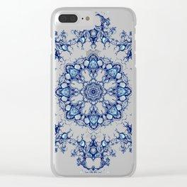 blue garden mandala Clear iPhone Case