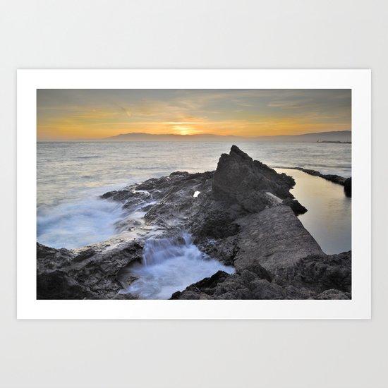 Orange sunset at the sea Art Print