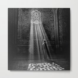 Rays of Sun through medieval blind window tracery black and white photograph / art photography Metal Print