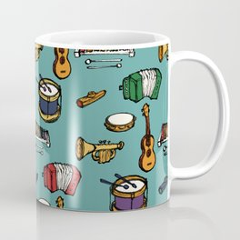 Toy Instruments on Teal Coffee Mug