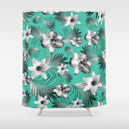 Tropical Flowers Palm Leaves Finesse #5 #tropical #decor #art #society6 Shower Curtain