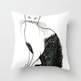 Cat wearing fur. Throw Pillow