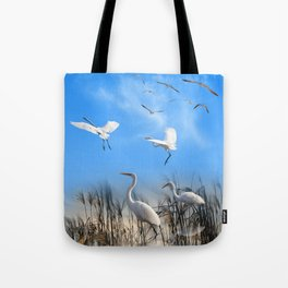 White Egrets in a Morning 1 Tote Bag