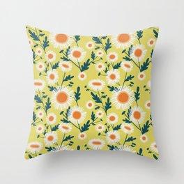 English Daisy-Mustard seed Throw Pillow