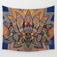 lotus flower Wall Tapestries featuring Lotus by Kimi Sadanaga