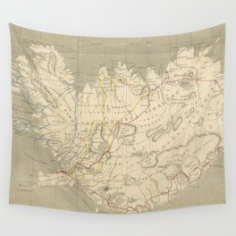 Vintage Map of Iceland (1819) Wall Tapestry