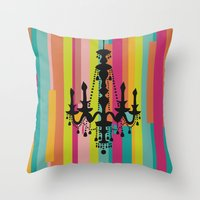 chandelier Throw Pillows featuring chandelier by Fairytale ink