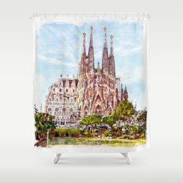 La Sagrada Familia watercolor Shower Curtain