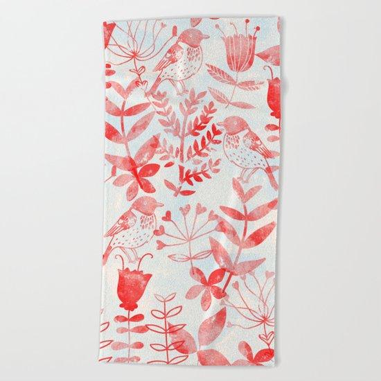 Watercolor Botanical Garden III Beach Towel