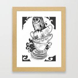 Baby Owl in Antique Teacups  Framed Art Print