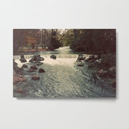 Rocky River Waterfall Englischer Garten Germany Color Photo Isar River Metal Print