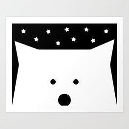 Peek-a-Boo Bear, Starry Night — Black and White Art Print