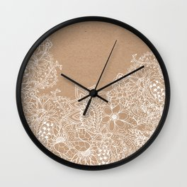 Modern white hand drawn floral illustration on rustic beige faux kraft color block Wall Clock