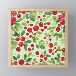 Watercolor Holly Pattern - Kitschy Christmas Holiday Print in Green and Red Framed Mini Art Print