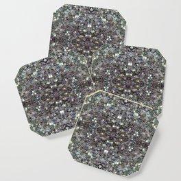 Sparkly colourful silver mosaic mandala Coaster