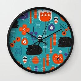 Modern birds and sleepy cats Wall Clock