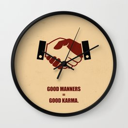 Lab No.4 -Good Manners Good Karma Life Inspirational Quotes poster Wall Clock