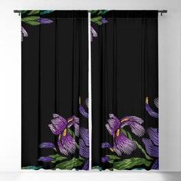 Embroidered Flowers on Black Corner 03 Blackout Curtain
