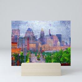 Baltimore Skyline near Johns Hopkins on a Rainy Day Mini Art Print