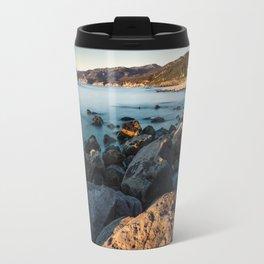 Photograph of a rocky coastline and beach Travel Mug