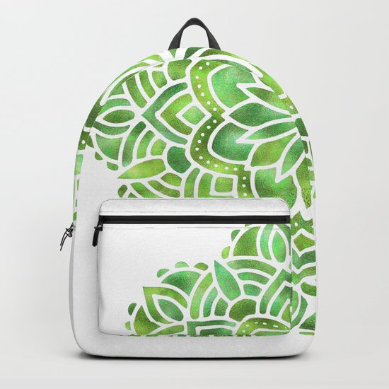 Mandala Green Leaves Backpack