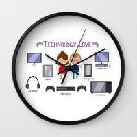 technology Wall Clocks featuring Technology Love by Juliana Motzko
