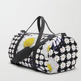 BLACK-WHITE DAISIES & MONARCH BUTTERFLIES ART Duffle Bag