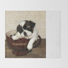 Cup of Puppy Throw Blanket