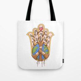 Hamsa, Heal the World, Tikkun Olam, Hamsa Hand, Hamesh, Hand of Miriam, Hand of Fatima Tote Bag