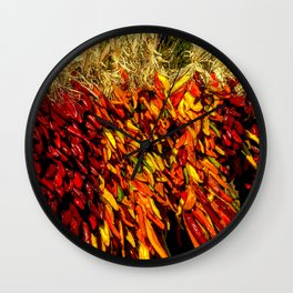 Ristras made from green, yellow, orange and red chile peppers Wall Clock