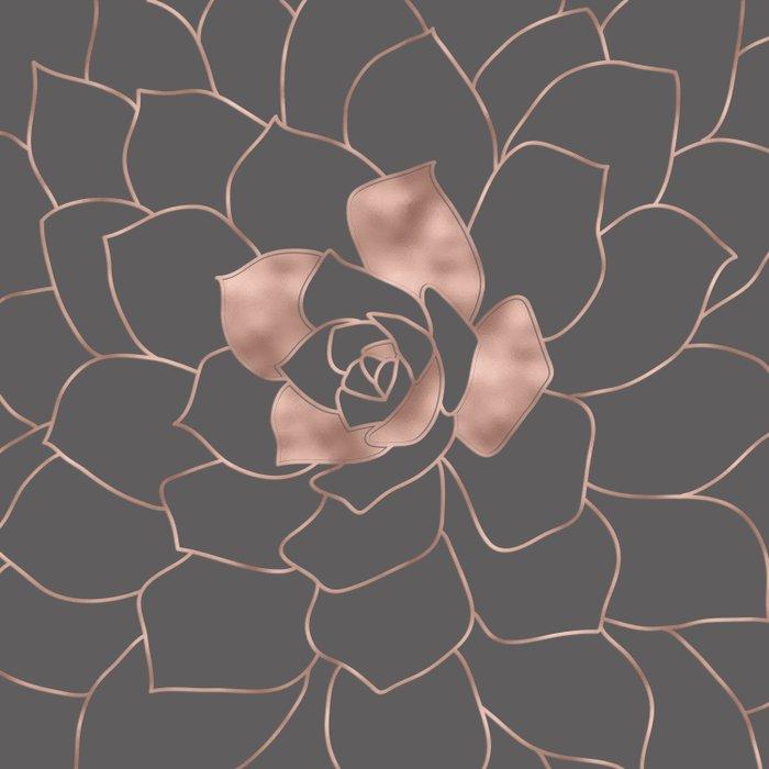 Rosegold  blossom on grey - Pink metal - effect flower Duvet Cover
