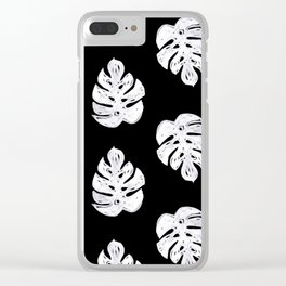 Linocut sketchy monstera leaf black and white tropical pattern print home decor nursery patterns Clear iPhone Case