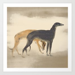 Two Sighthounds Art Print