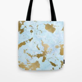 Pale Blue Gold Marble Tote Bag