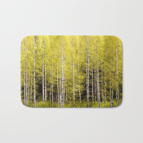 Lovely spring atmosphere - vibrant green leaves on the trees - beautiful birch grove Bath Mat