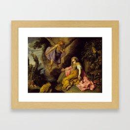 Pieter Lastman - Hagar and the Angel Framed Art Print