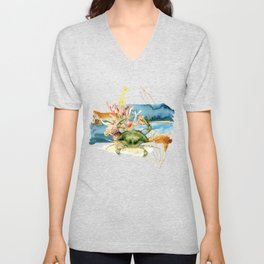 Watercolor Under Sea Collection: Crab and Coral Unisex V-Neck