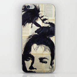 Can be - Portrait over vintage book's pages iPhone Skin