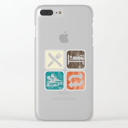 Eat Sleep Ice Skating Repeat Snow Sledding Hockey Ice-rinks Gift Clear iPhone Case