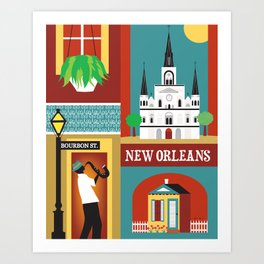 New Orleans, Louisiana - Collage Illustration by Loose Petals Art Print