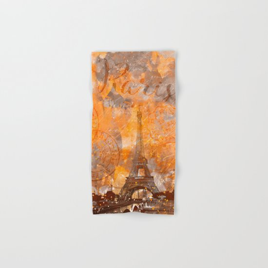 Paris Eifel Tower orange mixed media art Hand & Bath Towel