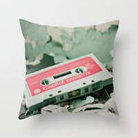 old school Throw Pillows featuring Old School  by Riot Jane