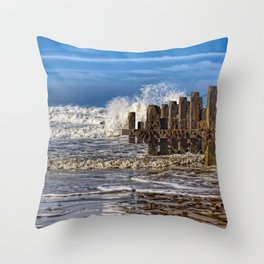 White horse on walcott beach Throw Pillow