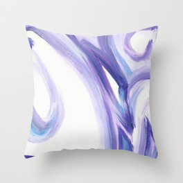 Wind on the City 2 - - Abstract painting in modern lavender purple with hints of bright blue Throw Pillow