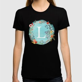 Personalized Monogram Initial Letter L Blue Watercolor Flower Wreath Artwork T-shirt